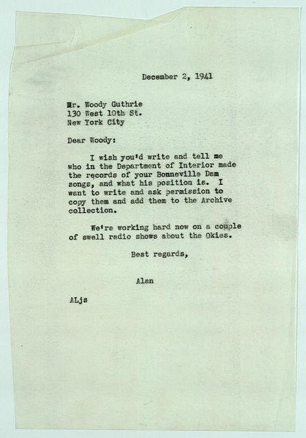 Letter from Alan Lomax to Woody Guthrie, December 2, 1941