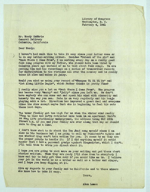 Letter from Alan Lomax to Woody Guthrie, February 4, 1941