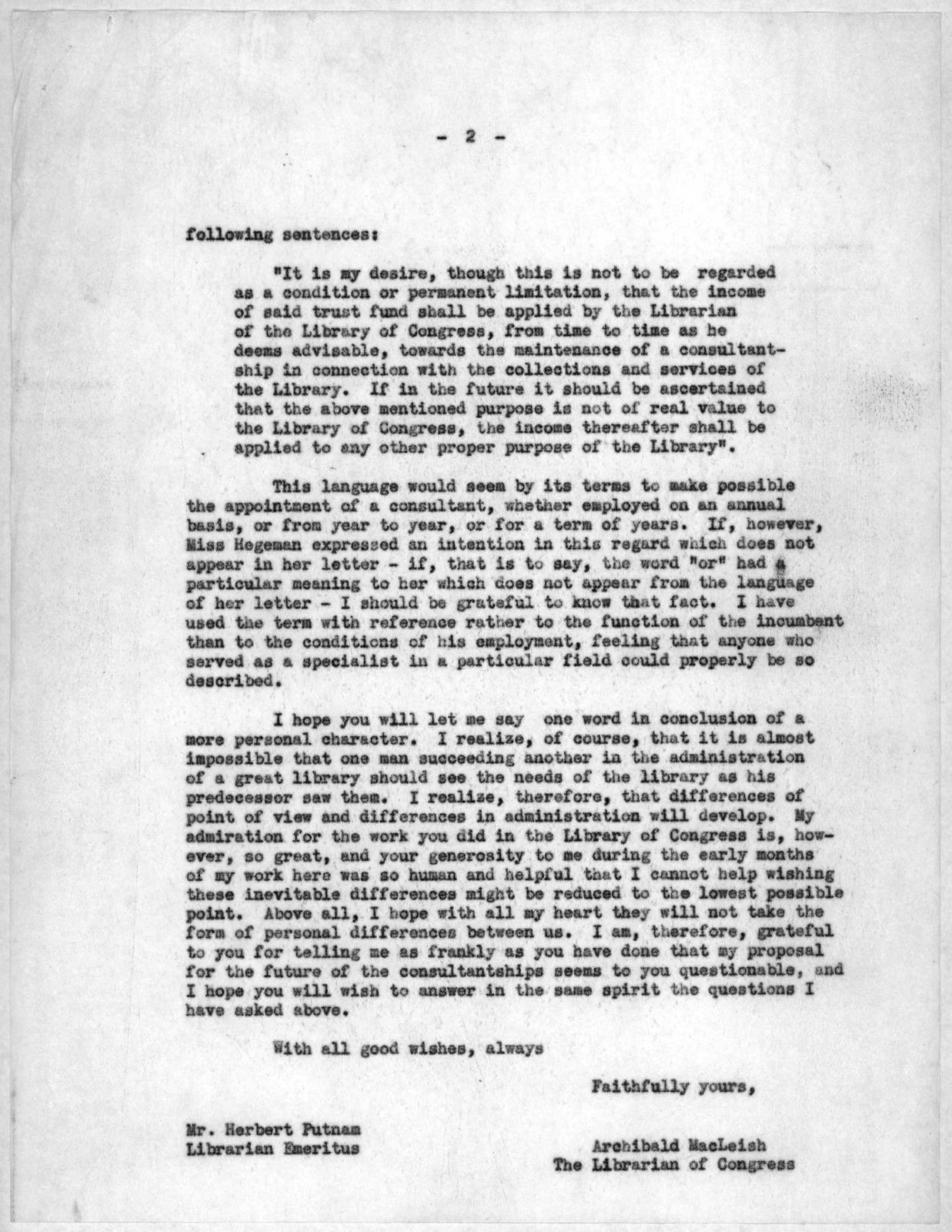 Letter from Archibald MacLeish to Herbert Putnam, June 3, 1941