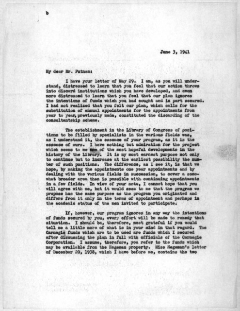 Letter from Archibald MacLeish to Herbert Putnam, June 3, 1941