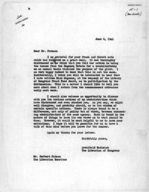 Letter from Archibald MacLeish to Herbert Putnam, June 6, 1941