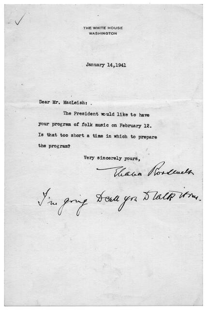 Letter from Eleanor Roosevelt to Archibald MacLeish, January 14, 1941
