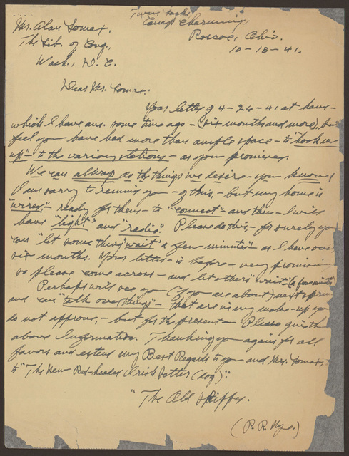 Letter from Pearl R. Nye to Alan Lomax, October 15, 1941