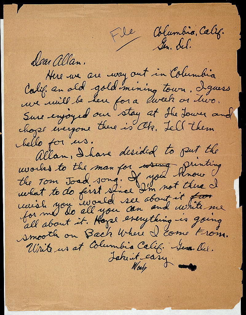 Letter from Woody Guthrie to Alan Lomax, ca. January 1941
