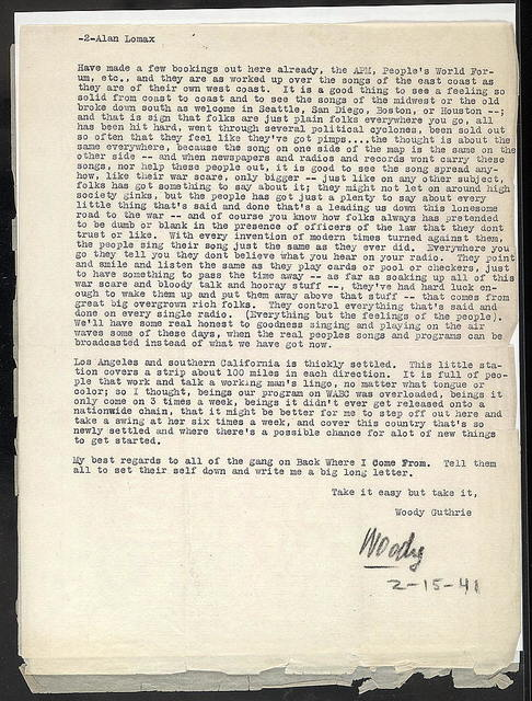 Letter from Woody Guthrie to Alan Lomax, February 15, 1941