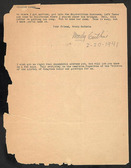 Letter from Woody Guthrie to Alan Lomax, February 20, 1941