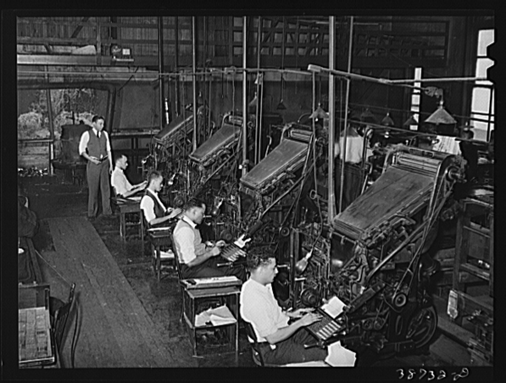 Linotype operators of the Chicago Defender, Negro newspaper. Chicago, Illinois