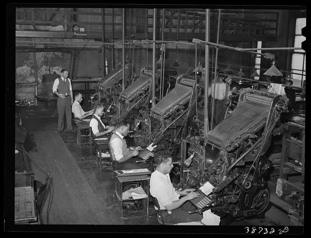Linotype operators of the Chicago Defender, Negro newspaper. Chicago, Illinois
