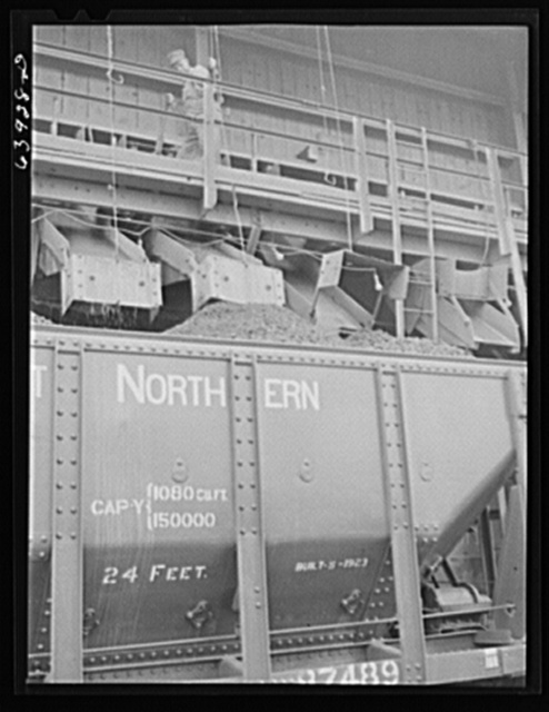 Loading car with washed ore at concentration plant near Bovey, Minnesota