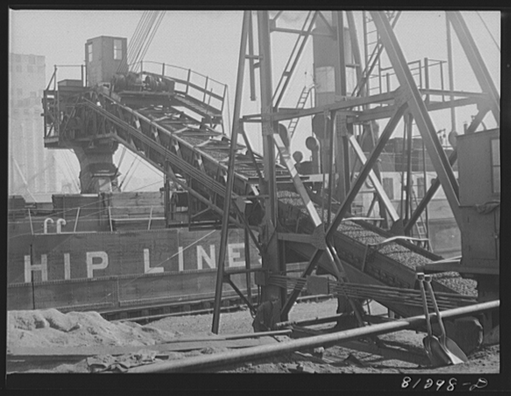 Loading coal aboard a Canadian collier. Oswego, New York