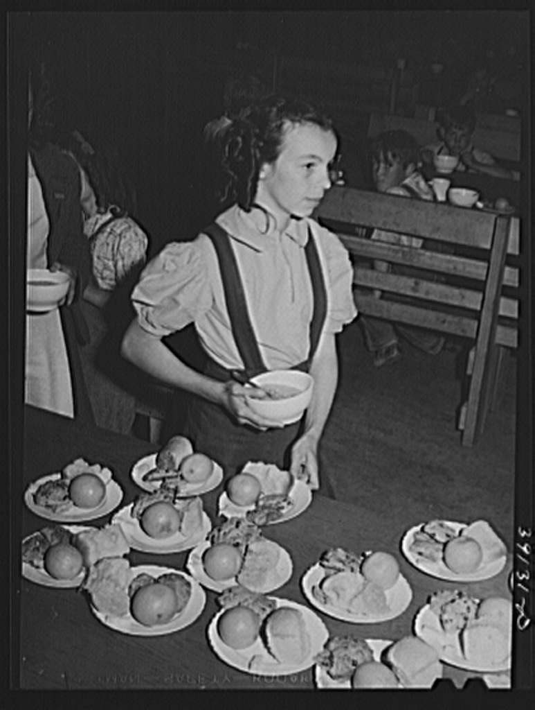 Lunch for schoolchildren, most of whose parents are working in the fields. FSA (Farm Security Administration) farm workers' camp. Caldwell, Idaho