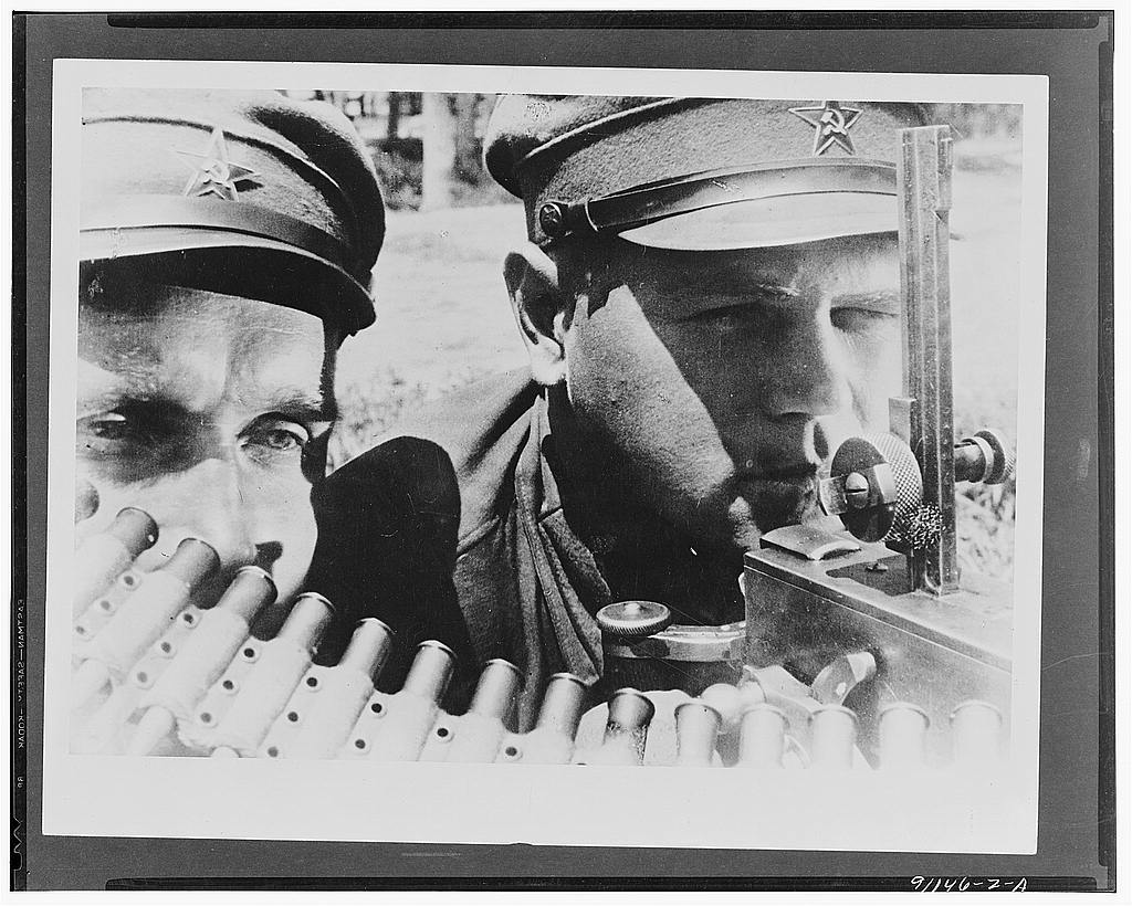 Machine gunners of the far eastern Red Army in the USSR (Union of Soviet Socialist Republics)