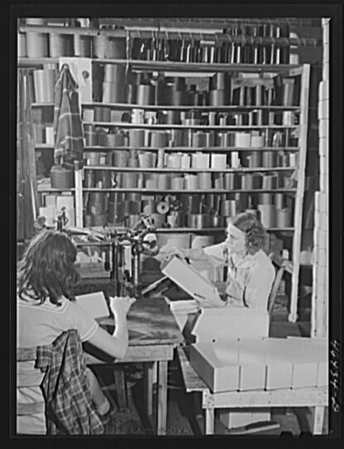 Making boxes to pack socks in the textile mill in Union Point, Greene County, Georgia
