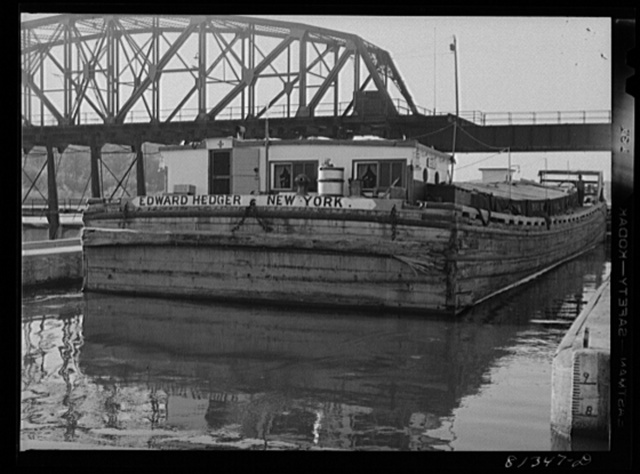 Many of the Erie Canal barges are still built of wood. Lock Eleven, Amsterdam, New York