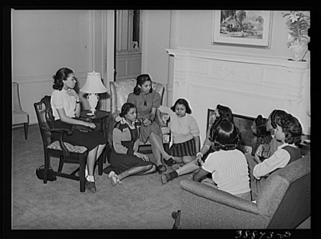 Meeting of NYA (National Youth Administration) girls with an instructor at the Good Shepherd Community Center. Chicago, Illinois
