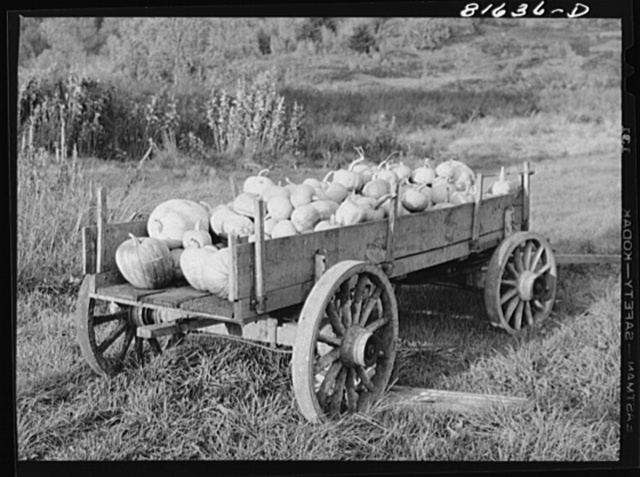 Melons for sale from farm wagon. Mohawk Trail, Massachusetts