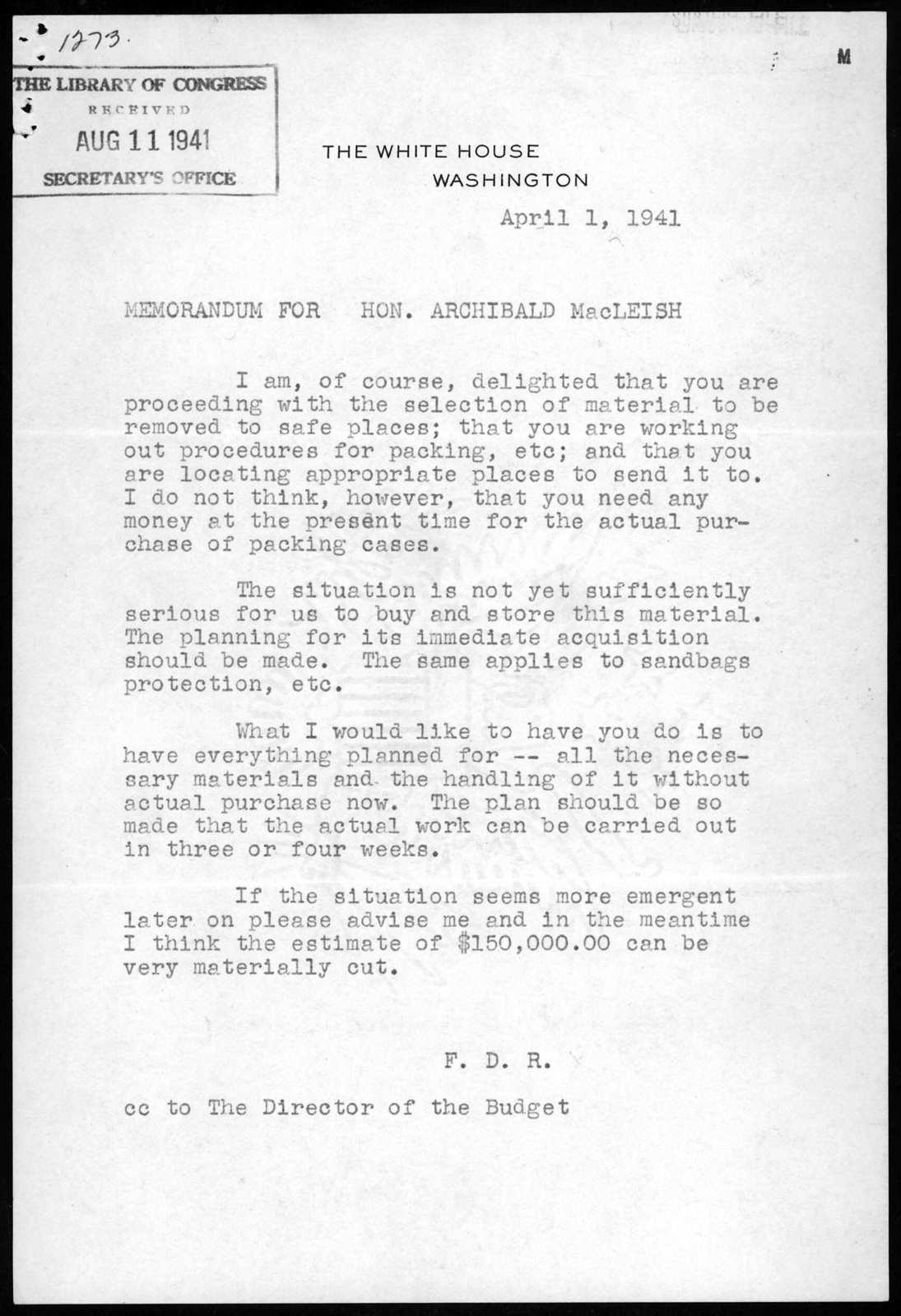Memorandum from Franklin D. Roosevelt to Archibald MacLeish, April 1, 1941