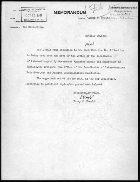 Memorandum from Harry J. Krould to the Librarian of Congress, October 28, 1941