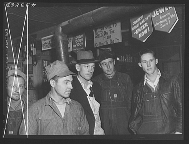 Migratory construction workers in a general store near Fort Bragg, North Carolina