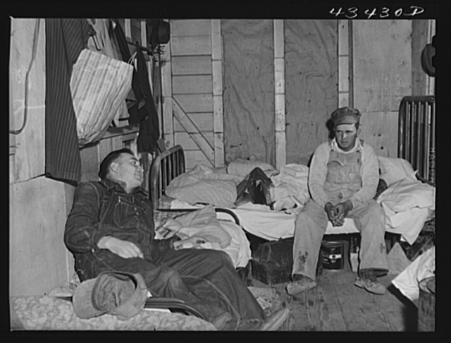 Migratory workers employed at Fort Bragg in a trailer camp near Fayetteville, North Carolina