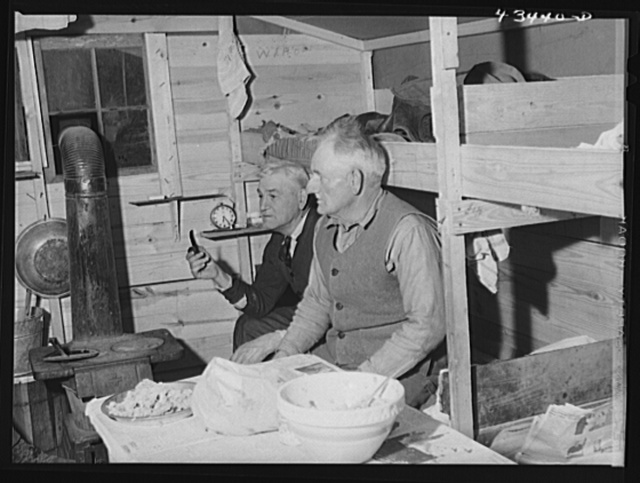 Migratory workers who work at Fort Bragg in bunkhouse where several of them live near Spartanburg, South Carolina