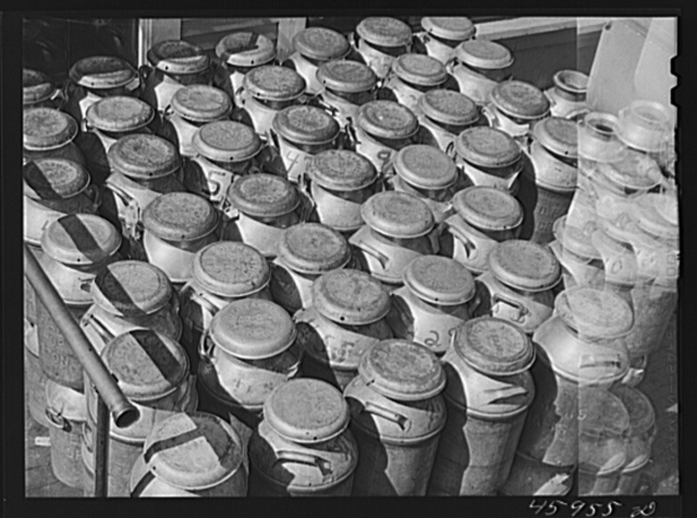 Milk cans at the United Farmers' Co-op Creamery in East Berkshire, Vermont