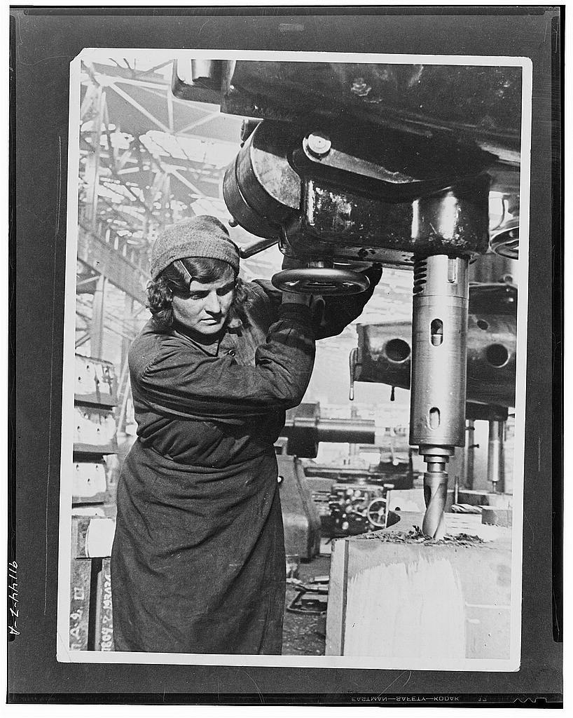 Moscow, USSR (Union of Socialist Soviet Republics). A worker in one of Moscow's factories, where thousands of women have replaced men on machines of all kinds