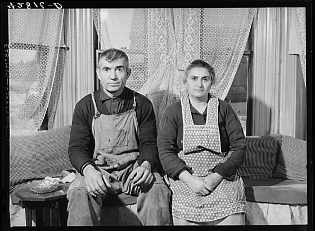 Mr. and Mrs. Ovgen Arakelian, Armenian vegetable farmers in West Andover, Massachusetts. They have an eleven-acre farm and a son works in a blanket factory in Lowell to help support the family