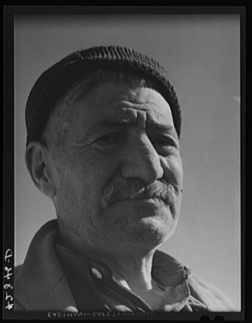 Mr. Hazar Loosigian, Armenian. Runs a small vegetable farm. The money his son makes on WPA (Work Projects Administration) helps them get thru the winter. West Andover, Massachusetts