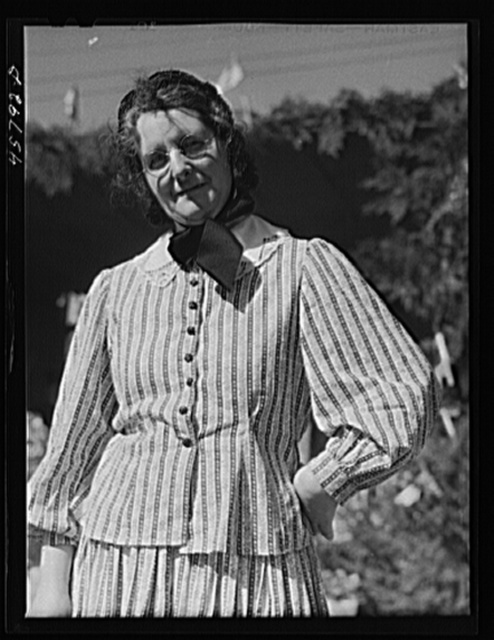 Mrs. George Delano dressed in old-fashioned costume at the World's Fair. Tunbridge, Vermont