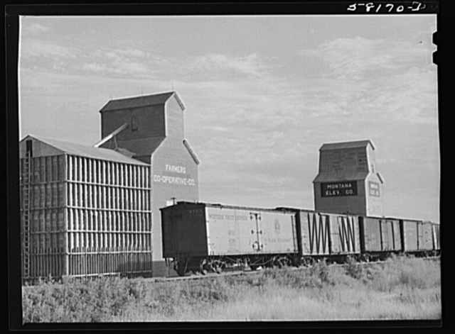 New additional storage space for bumper wheat crop. Grain elevators in northeastern section of Montana