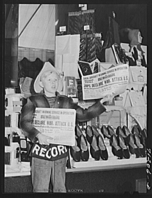 Newspaper extra on December 7, 1941. Redding, California