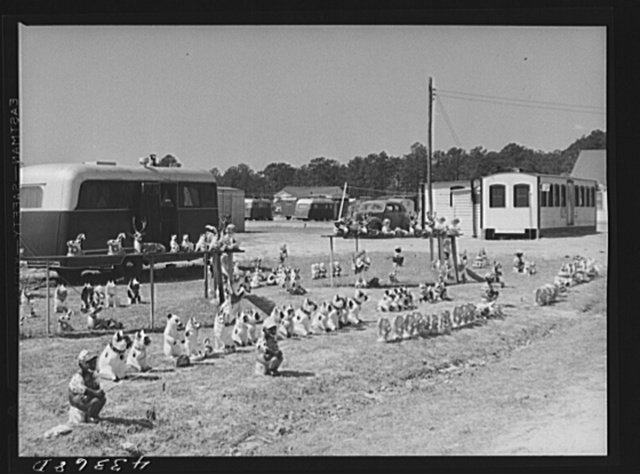 Novelties on sale along the roadside outside of a trailer settlement of workers from Fort Bragg near Fayetteville, North Carolina