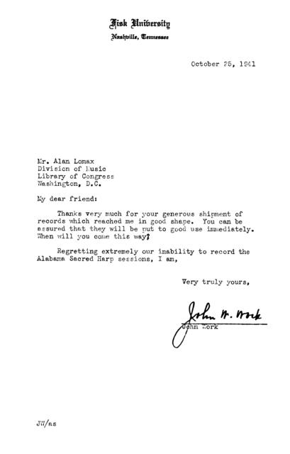 October 25, 1941, letter from John Work to Alan Lomax