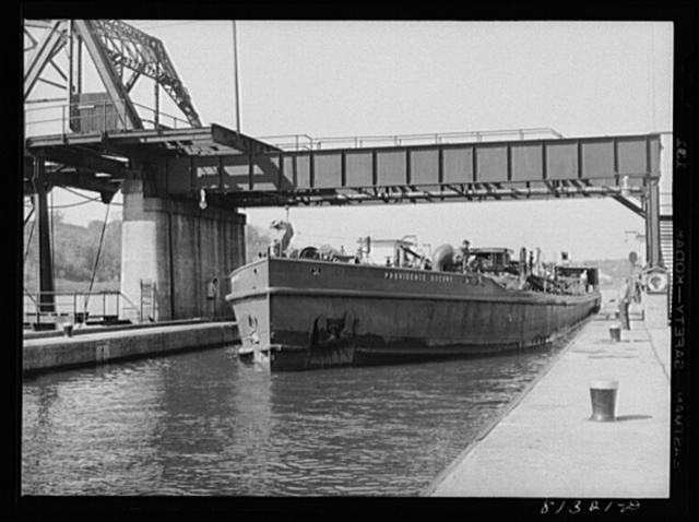 Oil carrier powered by diesel engine enters Lock Eleven. Amsterdam, New York