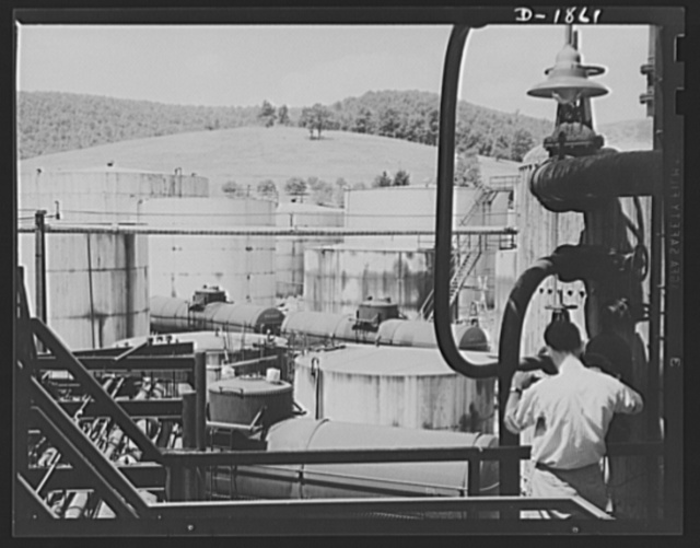 Oil. Oil for the armies of democracy is stored in these huge tanks at the McKean plant of the Quaker State Refining Company, Bradford, Pennsylvania. This company refines much high-quality lubricating oil for the military machinery of the Army and Navy