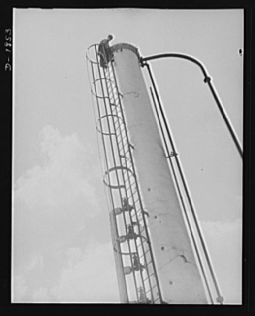 Oil. This is the huge gasoline stabilizing tower of the McKean Cracking Plant of the Quaker State Refining Company, Bradford, Pennsylvania. Quaker State is one of the many American oil companies working to supply the fuel and lubrication needed for the war machines of democracy