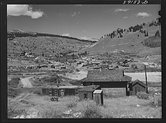 Old station on narrow gauge railroad in ghost mining town. Silver Plume, Colorado