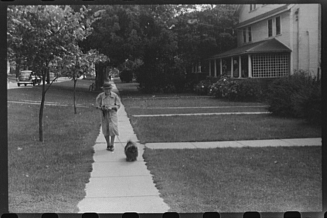 Old woman and Pekingese walking along a street in Saint Albans, Vermont