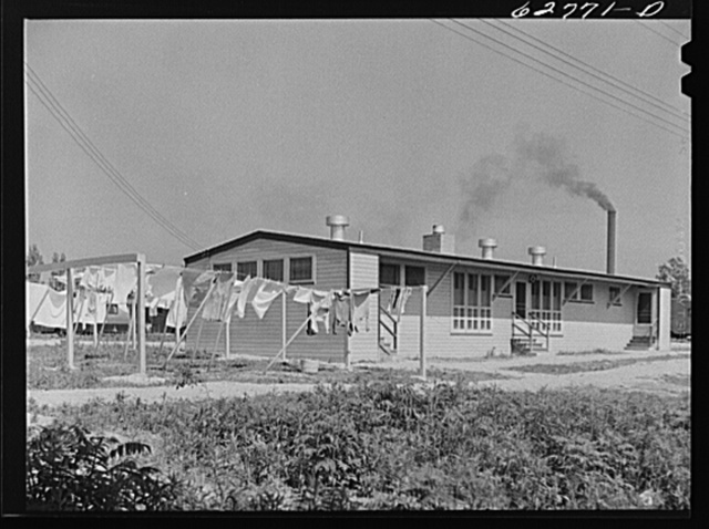 One of the three utility buildings at FSA (Farm Security Administration) trailer camp. These house showers, toilets, public telephone, and laundry room. Erie, Pennsylvania