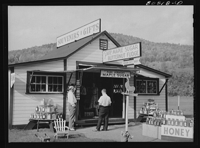 One third of the income from many localities in New England comes out of such souvenir shops on this Mohawk Trail. Massachusetts