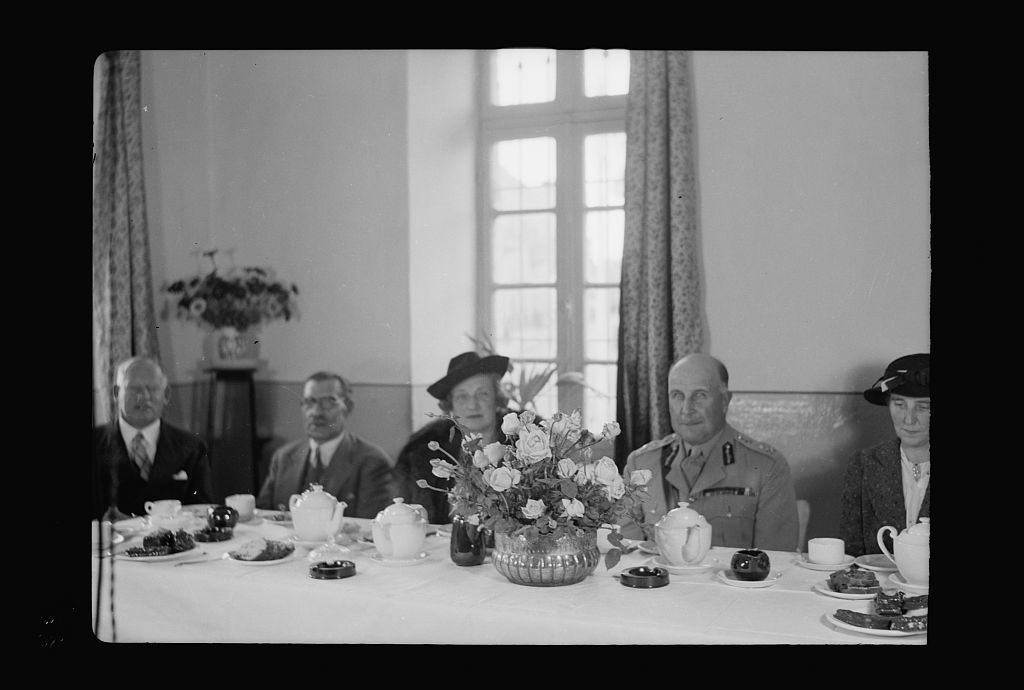 Opening of new Y.M.C.A. hostel by Gen. Wilson in old post office. Guests at tea table, Closer up of Lady MacMichael, Gen. Wilson, the mayor, etc.