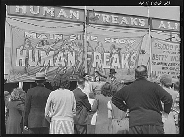 Outside a freak show at the Rutland Fair, Vermont