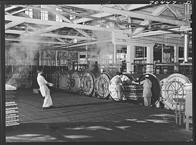 Ovens in which canned salmon is cooked. Columbia River Packing Association, Astoria, Oregon