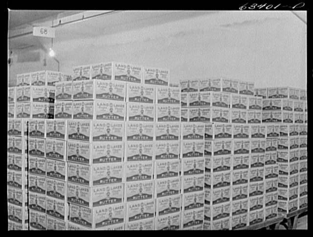 Packaged butter. Land O'Lakes plant, Minneapolis, Minnesota