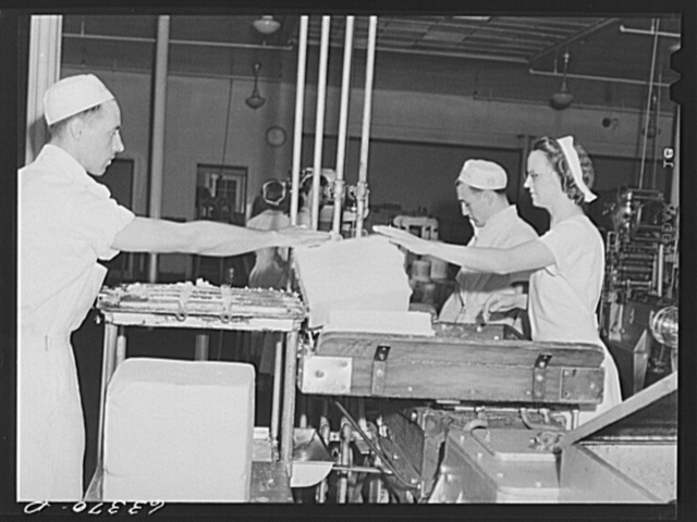 Packaging butter. Land O'Lakes plant, Minneapolis, Minnesota