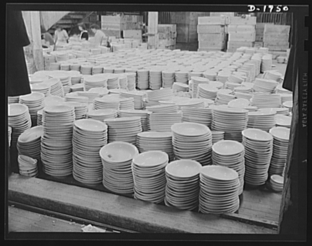 Part of 5,000 large oval serving dishes ready for shipment to the Army Quartermaster. Shenango Pottery Works, Newcastle, Pennsylvania