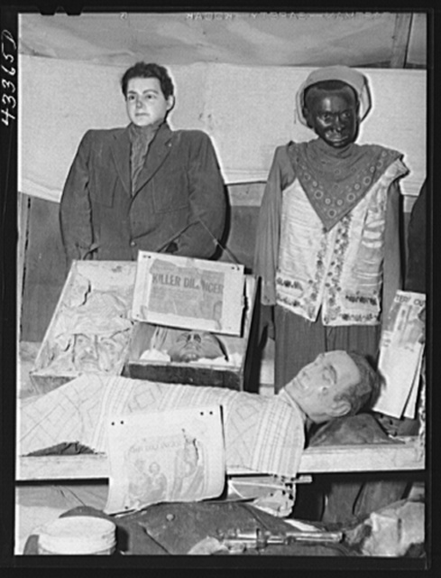 """Part of the exhibit of the travelling sideshow """"crime museum"""". Near Fort Bragg, North Carolina"""