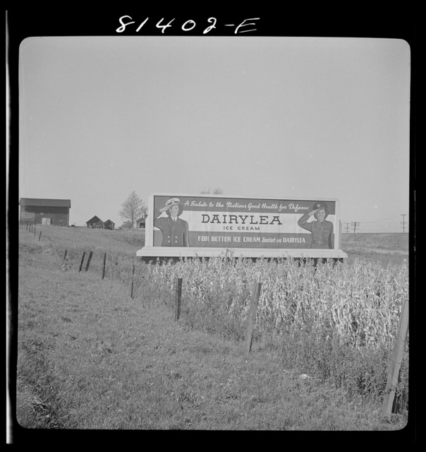 Patriotic slogan in ice cream advertising near Utica, New York