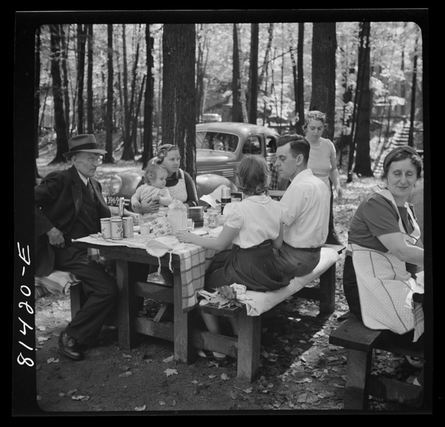 Picnic party from the mill towns enjoys the autumn foliage along the Mohawk Trail in Massachusetts. State-owned park